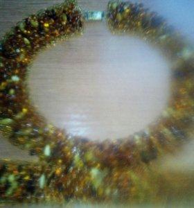Комплект из янтарного ожерелья и браслета