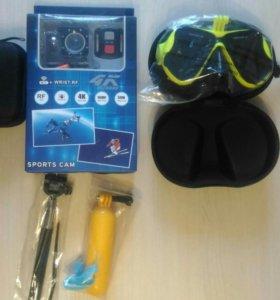 Экшн камера с кейсом и маской для дайвинга