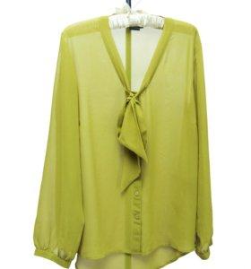 Блузка фисташкового цвета с бантом