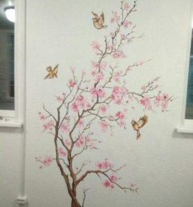 Роспись стен, картины на заказ