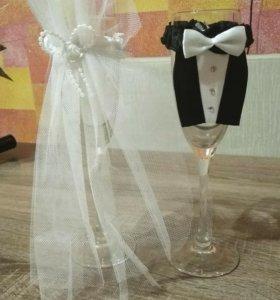 Украшения для свадебных бокалов