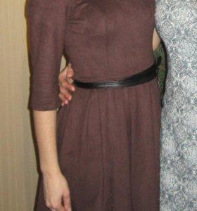 Платье цвета Горький Шоколад ткань под Замшу