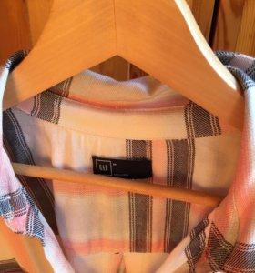 Платье- рубашка женское, бело- розовое, хлопок