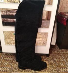 Сапоги ботфорты черные замшевые