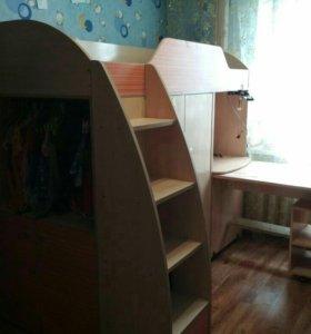 """""""Радуга"""" Кровать-чердак со шкафом и выдвижным стол"""