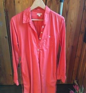 Платье- рубашка оранжевое, хлопок