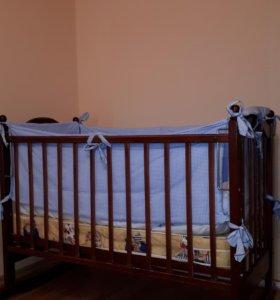 Кроватка, бортики и матрас (Торг)