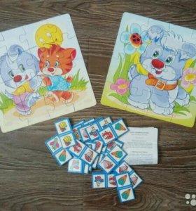 Пазлы-картинки и домино для детей от 3 лет