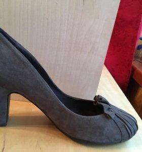 Туфли женские коричневые замша