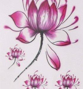 Временная 3D татуировка бабочка, цветок