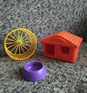 Домик, колесо для бега, миска