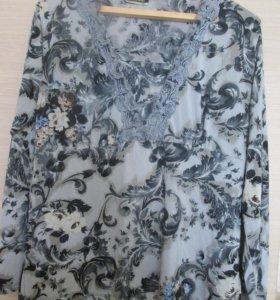 трикотажная блузка с кружевом