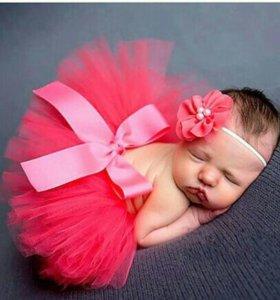 Пышная юбка пачка для малышки+повязка на голову