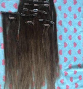Волосы натуральные на заколках 50см