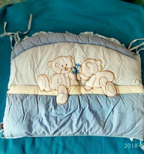 Бортики на кроватку+балдахин с держателем