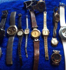 Часы б/у на запчасти,браслет на часы(100р)