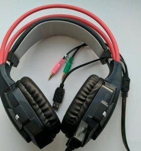 Игровые наушники с микрофоном и подсветкой