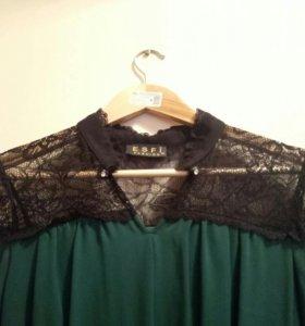 платье, изумрудно-зелёное с кружевом