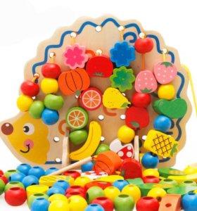 Ёжик развивающая деревянная игрушка