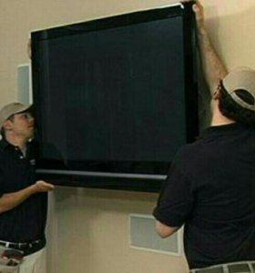 Телевизор на стену, кронштейн. установка