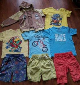 Футболки+шорты+кофта на мальчика 3-4 лет