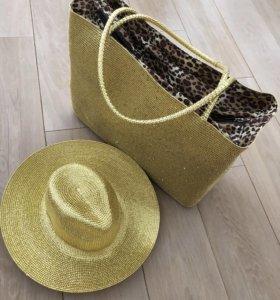 Пляжная сумка и шляпа новое