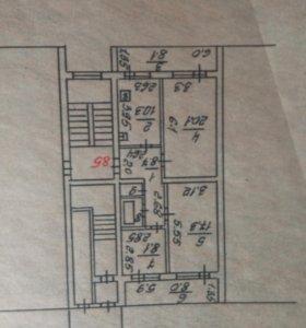 Квартира, 3 комнаты, 76.2 м²