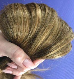 Волосы на заколках натуральные 45 см