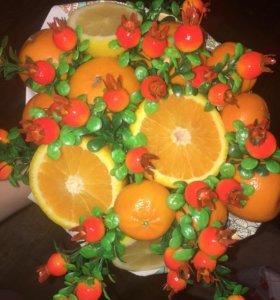 Букет из фруктов 🍓🌸🌹🍇🍓🍊🍎🍒🍅🍅🥦🥝🍈🍋🥒🍠
