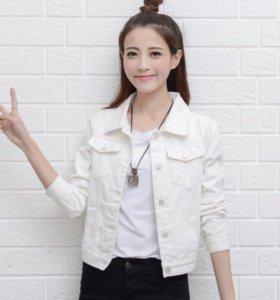 Джинсовая куртка белая новая 42-46