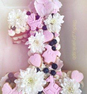 Торт цифра, буква, сердце. Фигурный торт на заказ
