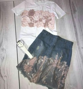 Комплект юбка и футболка Dior