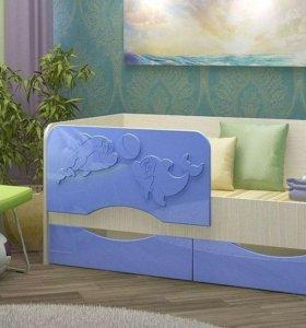 кровать дельфин голубая . в наличии