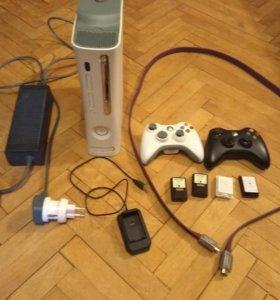Xbox 360 2 красных огня. Геймпады можно отдельно