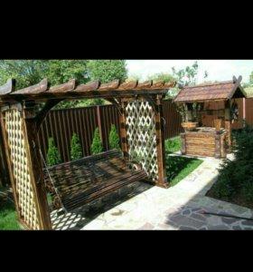 Изготовление деревянных навесов,беседок садовой ме