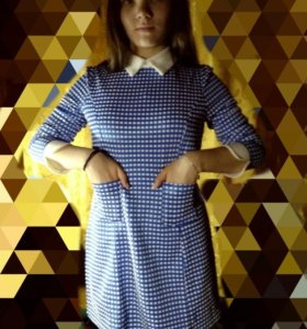 Платье синее в клеточку