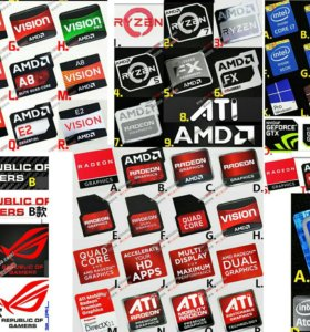 Наклейки Intel Core i5, i7, AMD A6, A10, Nvidia