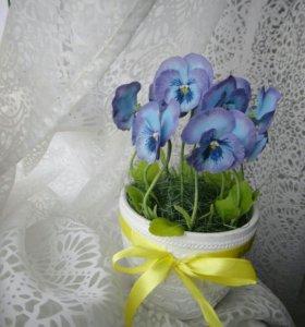 Цветы из холодного фарфора(анютины глазки, виола)