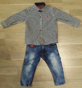 Джинсы+рубашкаNext 500 руб