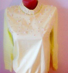 Блузка жёлтая с жемчугом