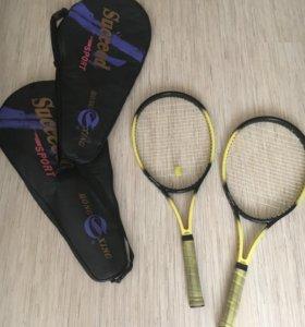 Ракетки для большого тенниса, 2 штуки с 2 чехлами.