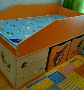 Кровать-чердак (мини) с матрасом, шкаф и полка