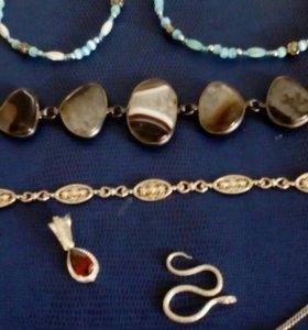Серебро:браслеты,подвески с нат.гранатом,
