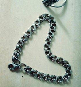 Серебряные браслет кольцо