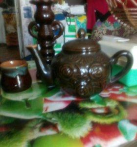 В подарок к празднику! Кофейник или чайник с чашк