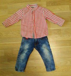 Рубашка next+джинсы 500 руб
