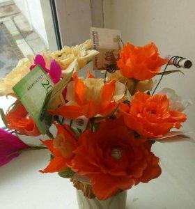 Букет из конфет, ростовые цветы на заказ