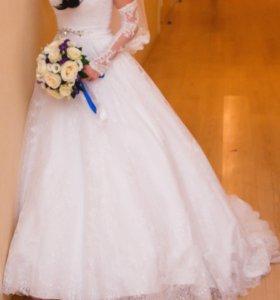 Свадебное платье,перчатки