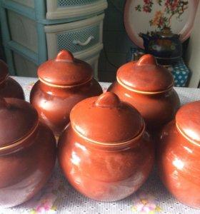 Горшки для запекания, тарелки фарфор