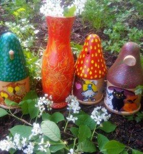 Деревянные шкатулочки и ваза